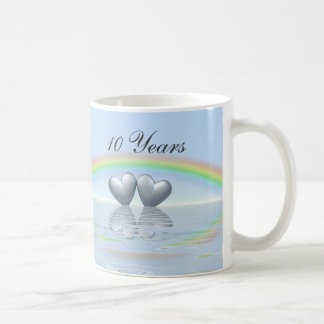 10th Anniversary Tin Hearts Mugs