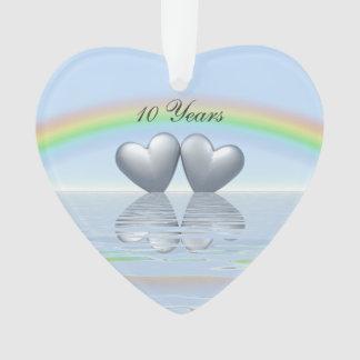 10th Anniversary Tin Hearts Ornament