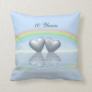 10th Anniversary Tin Hearts Throw Pillow