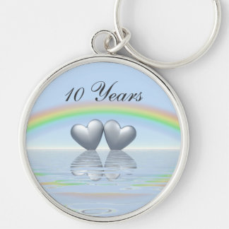 10th Anniversary Tin Hearts Silver-Colored Round Keychain