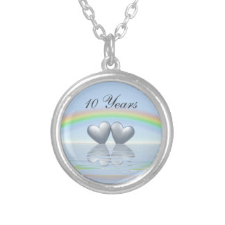 10th Anniversary Tin Hearts Silver Plated Necklace