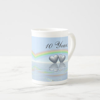 10th Anniversary Tin Hearts Porcelain Mugs
