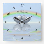 10th Anniversary Tin Hearts Square Wall Clocks
