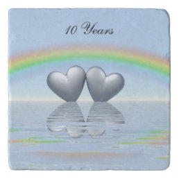 10th Anniversary Tin Hearts Trivet
