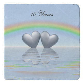 10th Anniversary Tin Hearts Trivet
