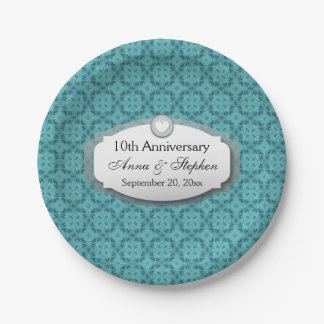 10th Anniversary Wedding Anniversary Z09 Paper Plate