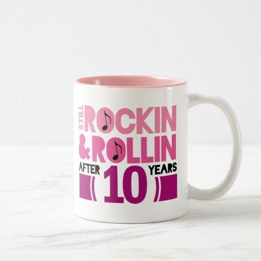 10th Anniversary Wedding Gift Two-Tone Coffee Mug