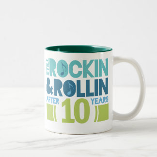10th Anniversary Wedding Gift Two-Tone Coffee Mug