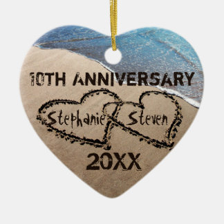 10th, Any Anniversary Two Hearts In Sand Ornament