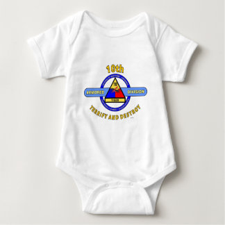 """10TH ARMORED DIVISION""""TERRIFY & DESTROY""""BLUE BABY BODYSUIT"""