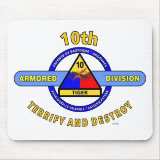 """10TH ARMORED DIVISION""""TERRIFY & DESTROY""""BLUE MOUSE PAD"""