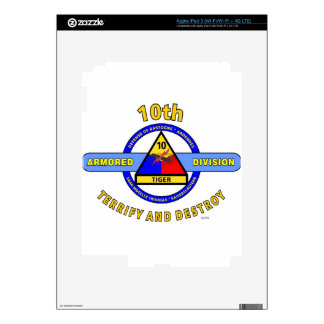 "10TH ARMORED DIVISION""TERRIFY & DESTROY""BLUE SKIN FOR iPad 3"
