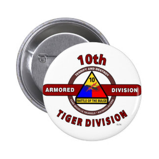 """10TH ARMORED DIVISION """"TIGER DIVISION"""" PINBACK BUTTONS"""