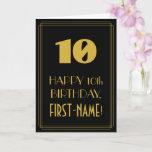 "[ Thumbnail: 10th Birthday – Art Deco Inspired Look ""10"" & Name Card ]"