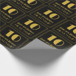 """[ Thumbnail: 10th Birthday ~ Art Deco Inspired Look """"10"""", Name Wrapping Paper ]"""