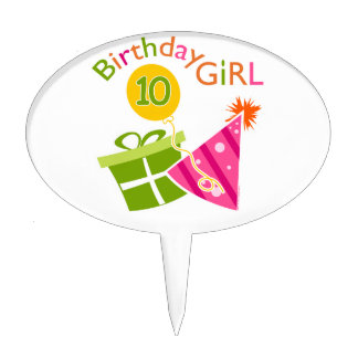 10th Birthday - Birthday Girl Cake Topper