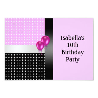 "10th Birthday Black Pink White Pattern & Balloons 3.5"" X 5"" Invitation Card"