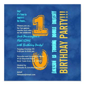 10th Birthday Blue and Gold Modern Grunge G10B Card