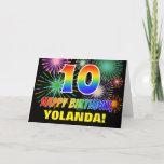 [ Thumbnail: 10th Birthday: Bold, Fun, Fireworks, Rainbow 10 Card ]