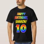 [ Thumbnail: 10th Birthday — Bold, Fun, Rainbow 10, Custom Name T-Shirt ]