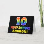 [ Thumbnail: 10th Birthday: Bold, Fun, Simple, Rainbow 10 Card ]