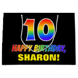 [ Thumbnail: 10th Birthday: Bold, Fun, Simple, Rainbow 10 Gift Bag ]