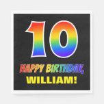 [ Thumbnail: 10th Birthday: Bold, Fun, Simple, Rainbow 10 Napkins ]