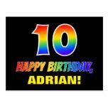 [ Thumbnail: 10th Birthday: Bold, Fun, Simple, Rainbow 10 Postcard ]