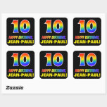 [ Thumbnail: 10th Birthday: Bold, Fun, Simple, Rainbow 10 Sticker ]