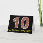 "[ Thumbnail: 10th Birthday - Brick Wall Pattern ""10"" W/ Name Card ]"