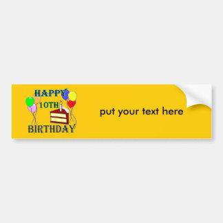 10th Birthday Cake Birthday Design Car Bumper Sticker