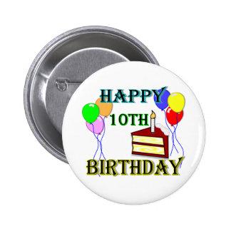 10th Birthday Cake Birthday Design Button