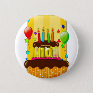 10th birthday cake with candles badge pinback button