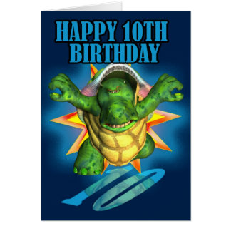 10th Birthday Card with a Turtle