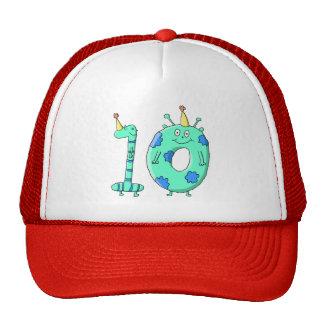10th Birthday Cartoon, Teal Green and Blue. Trucker Hat