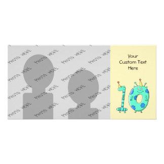 10th Birthday Cartoon Teal Green and Blue Photo Greeting Card
