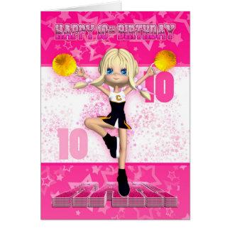 10th Birthday Cheerleader Greeting Card
