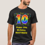 [ Thumbnail: 10th Birthday: Colorful Music Symbols, Rainbow 10 T-Shirt ]