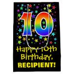 [ Thumbnail: 10th Birthday: Colorful Stars Pattern & Rainbow 10 Gift Bag ]