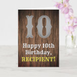 [ Thumbnail: 10th Birthday: Country Western Inspired Look, Name Card ]