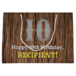 [ Thumbnail: 10th Birthday: Country Western Inspired Look, Name Gift Bag ]
