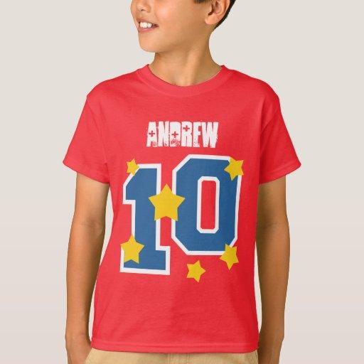 10th birthday custom name gold stars v04 t shirt zazzle for Custom t shirts under 10