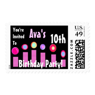 10th BIrthday Custom Name Party Stamp Pink Candles