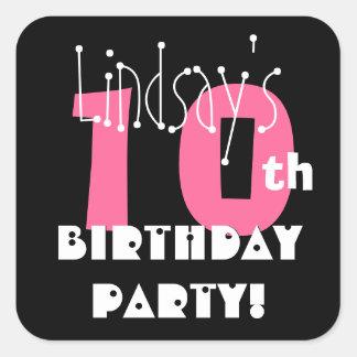 10th Birthday Custom Name Pink and Black Square Sticker