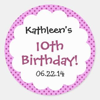 10th Birthday Cute Polka Dot Custom Name Sticker