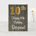 [ Thumbnail: 10th Birthday: Elegant Faux Gold Look #, Faux Wood Card ]