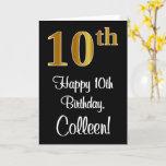 [ Thumbnail: 10th Birthday ~ Elegant Luxurious Faux Gold Look # Card ]