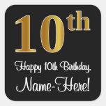 [ Thumbnail: 10th Birthday – Elegant Luxurious Faux Gold Look # Sticker ]
