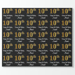 [ Thumbnail: 10th Birthday: Elegant Luxurious Faux Gold Look # Wrapping Paper ]