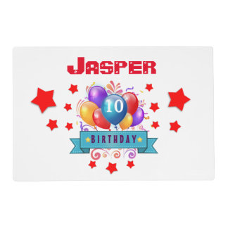 10th Birthday Festive Colorful Balloons V10FZ Placemat